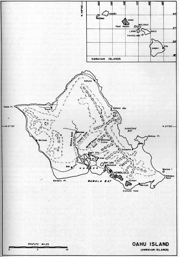 Map of Oahu Island (Hawaiian Islands)